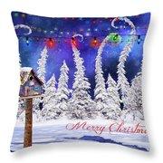 Christmas Card With Bird House Throw Pillow