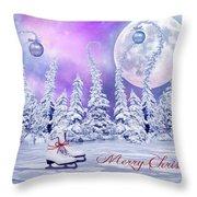 Christmas Card With Ice Skates Throw Pillow