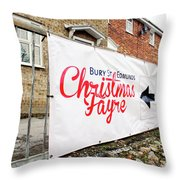 Christmas Fayre Sign Throw Pillow