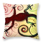 Christmas Gecko With Gold Poop Throw Pillow