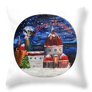 Christmas Greeting In Florence  Throw Pillow