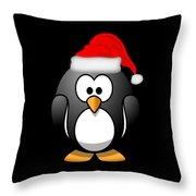 Christmas Santa Penguin Throw Pillow