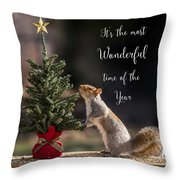 Christmas Squirrel Most Wonderful Time Of The Year Square Throw Pillow