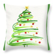 Christmas Tree With Decoration Throw Pillow