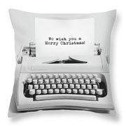 Christmas Wishes Written On An Old Typewriter. Throw Pillow