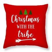 Christmas With The Tribe Throw Pillow