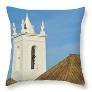 Church Bell Tower Behind Tiled Roofs In Tavira Throw Pillow