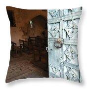 Church Door Tremouille Auvergne Francd Throw Pillow