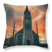 Church Of Days Past Throw Pillow