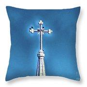 Church Steeple In Macon Ga Next To The Hospital  Throw Pillow