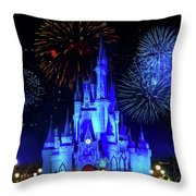 Cinderella Castle Fireworks Throw Pillow