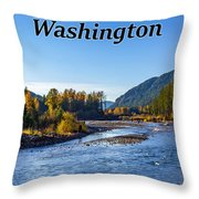 Cispus River In The Gifford Pinchot National Forest, Washington State Throw Pillow