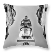City Hall In Center City Philadelphia In Black And White Throw Pillow