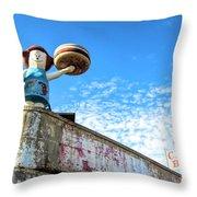 Clam Bar Theme Park Coney Island  Throw Pillow