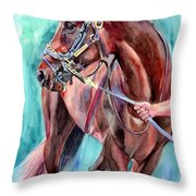 Classical Horse Portrait Throw Pillow