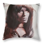 Claudia Lennear.brown Sugar.lady Grinning Soul Throw Pillow