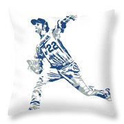 Clayton Kershaw Los Angeles Dodgers Pixel Art 30 Throw Pillow
