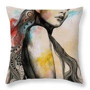 Cleansing Undertones - Zentangle Nude Girl Drawing Throw Pillow