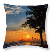 Cleveland Sign Sunrise Throw Pillow