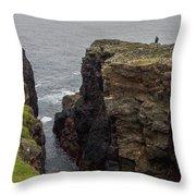 Cliff Vigil At Esha Ness On Shetland Mainland Throw Pillow