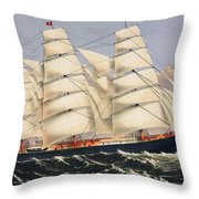 Clipper Ship Three Brothers, The Largest Sailing Ship In The World Published By Currier And Ives Throw Pillow