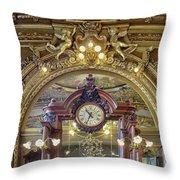 Clock At Le Train Bleu Throw Pillow
