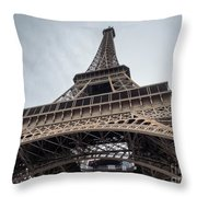 Close Up View Of The Eiffel Tower From Underneath  Throw Pillow