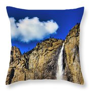 Clouds Abover Upper Yosemite Fall Throw Pillow