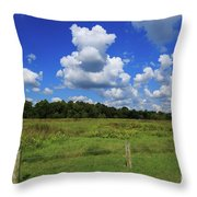 Clouds Surround The Landscape Throw Pillow