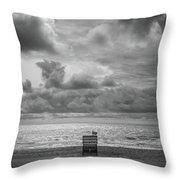 Cloudy Morning Rough Waves Throw Pillow
