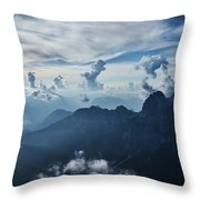 Moody Cloudy Mountains With A Lot Of Contrast And Shadows And Clouds Throw Pillow