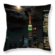 Cloudy Sturgeon Full Moon Throw Pillow by Chris Lord
