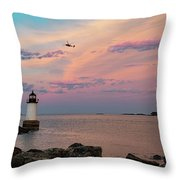 Coast Guard Rescue Over Winter Island Throw Pillow by Jeff Folger