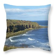 coastal bay at Cove with cliffs Throw Pillow