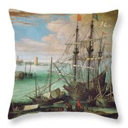 Coastal Landscape With Harbor  Throw Pillow