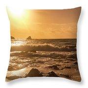 Coastal Sunrise Silhouette Throw Pillow