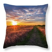 Coastline Footpath To Sunset Throw Pillow