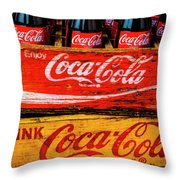 Coca Cola Crates Throw Pillow