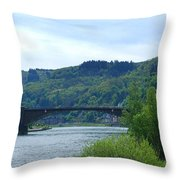 Cochem Castle And River Mosel In Germany Throw Pillow