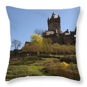 Cochem Castle And Vineyard In Germany Throw Pillow