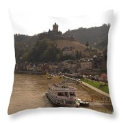 Cochem Castle, Town And River Mosel In Germany Throw Pillow