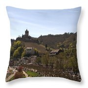 Cochem Main Street And Castle In Springtime In Germany Throw Pillow