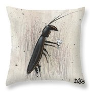Cockroach With Martini Throw Pillow by Rick Baldwin
