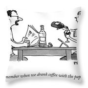 Coffee With The Paper Throw Pillow
