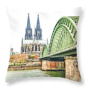 Cologne Cathedral Throw Pillow by Fran Riley