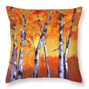 Color Forest Landscape Throw Pillow