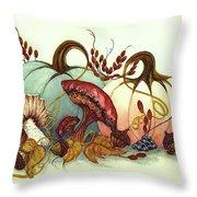 Color Me Autumn - Pumpkins And Mushrooms Throw Pillow