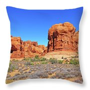 Colorado Arches Park Landscape Scrub Red Rocks Blue Sky 3335 Throw Pillow