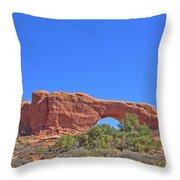 Colorado Arches Rock, Scrub Blue Sky 3397 Throw Pillow