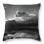Colorado Mountain Lake In Black And White Throw Pillow
